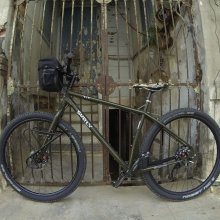Surly ECR by an antique building in Charlotte Amalie